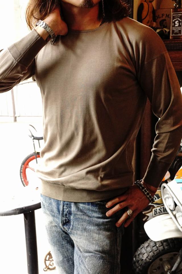 "Olde Homesteader ""Crew Neck Longsleeve"" – Interlock – Rustic Grey"
