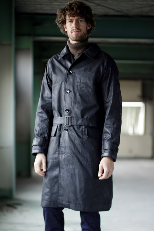 ADDICT CLOTHES JAPAN ACVM WAXED COTTON SINGLE DISPATCH COAT BLACK