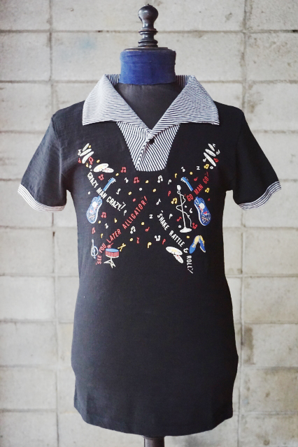"""Delinquent Bros """"Rock'n Roll""""POLO SHIRTS BLACK"""