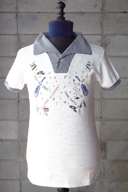 """Delinquent Bros """"Rock'n Roll""""POLO SHIRTS WHITE"""