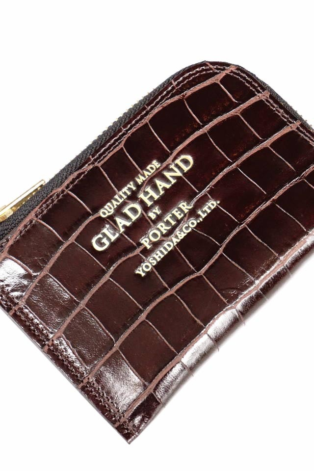 GLAD HAND×PORTER GH - BELONGINGS COIN CASE CROCOLIKE BROWN