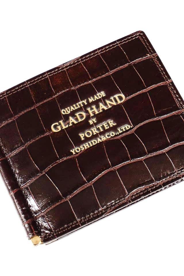 GLAD HAND×PORTER GH - BELONGINGS MONEY CLIP CROCOLIKE BROWN
