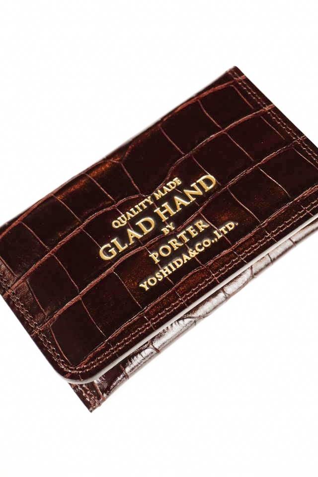 GLAD HAND×PORTER GH - BELONGINGS CARD CASE CROCOLIKE BROWN