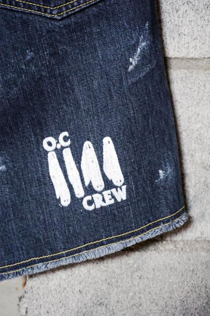 "O.C CREW ""FLAG""DAMAGE DENIM SHORTS (BLACK)"