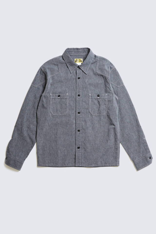 ADDICT CLOTHES JAPAN ACV-SH01 PADDED CHAMBRAY SHIRT BLACK