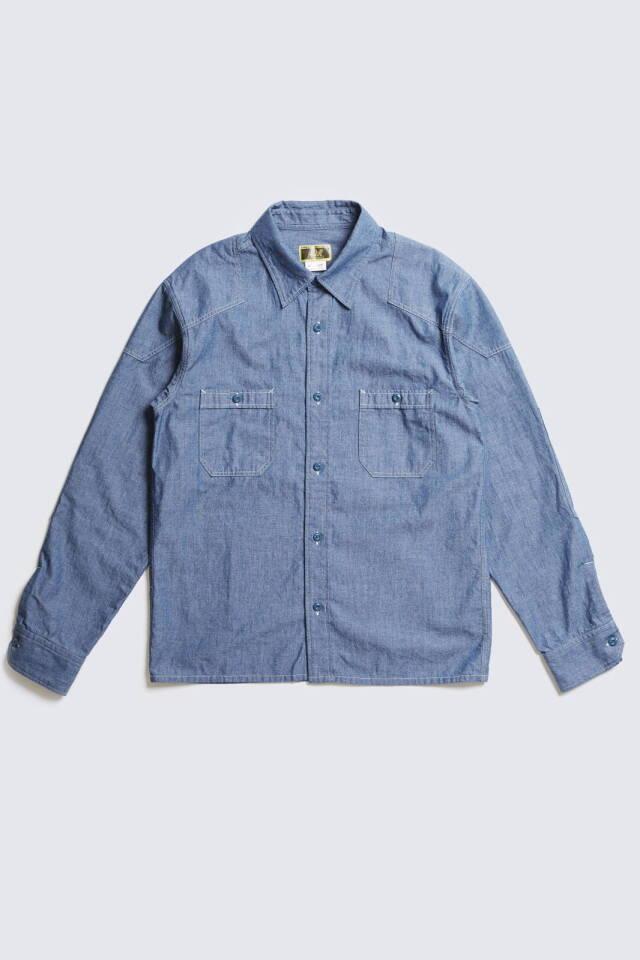 ADDICT CLOTHES JAPAN ACV-SH01 PADDED CHAMBRAY SHIRT BLUE