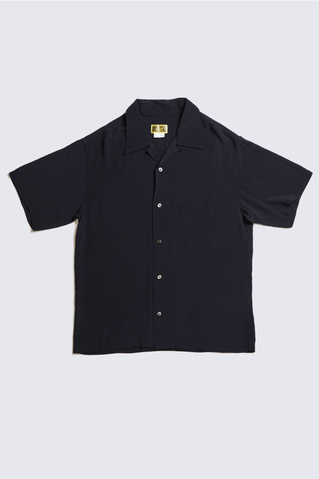 ADDICT CLOTHES JAPAN ACVM ACV-SH02RY RAYON SLANT POCKET OPEN COLLAR SHIRT BLACK