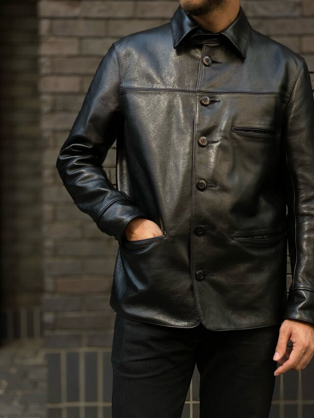 ADDICT CLOTHES JAPAN ACVM ACV-LJK02 HORSEHIDE CAR COAT BLACK