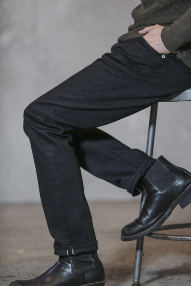 ADDICT CLOTHES JAPAN ACVM ACV-P02 TIGHT TAPERED STRETCH DENIM BLACK