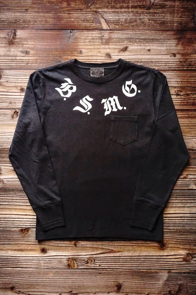 B.S.M.G. B LETTERS - L/S T-SHITS BLACK×WHITE