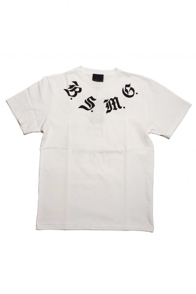 B.S.M.G. B LETTERS - S/S T-SHITS WHITE×BLACK