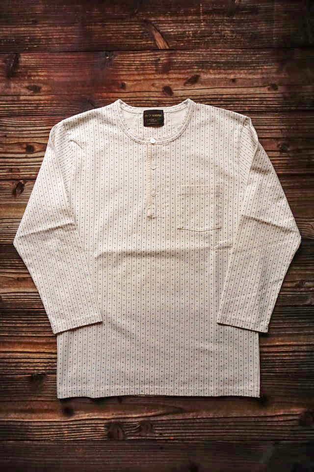 BY GLAD HAND WARDROBE - L/S HENRY NECK T-SHIRTS IVORY