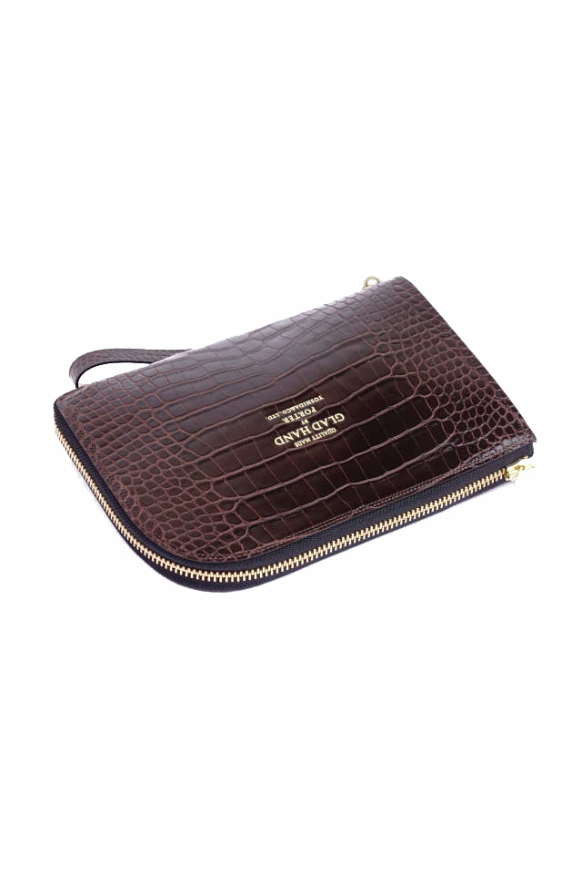 GLAD HAND×PORTER GH - BAGGAGE CLUTCH BAG CROCOLIKE BROWN