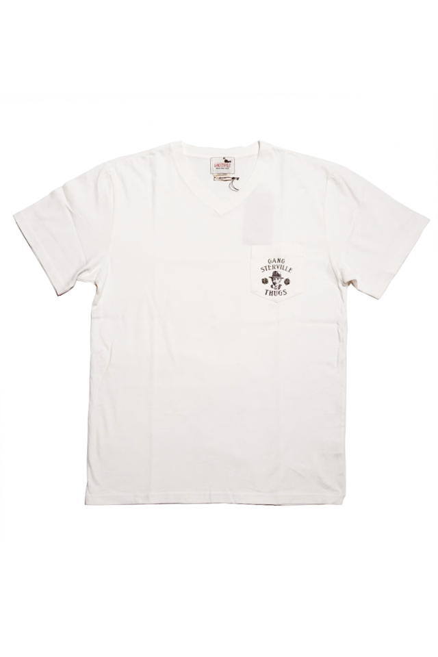 GANGSTERVILLE MOVSTER DAILY - S/S V-NECK T-SHIRTS WHITE