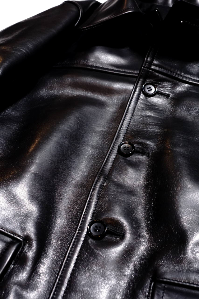 "GANGSTERVILLE 30'S CAR -  COAT ""HORSE HIDE"" BLACK"