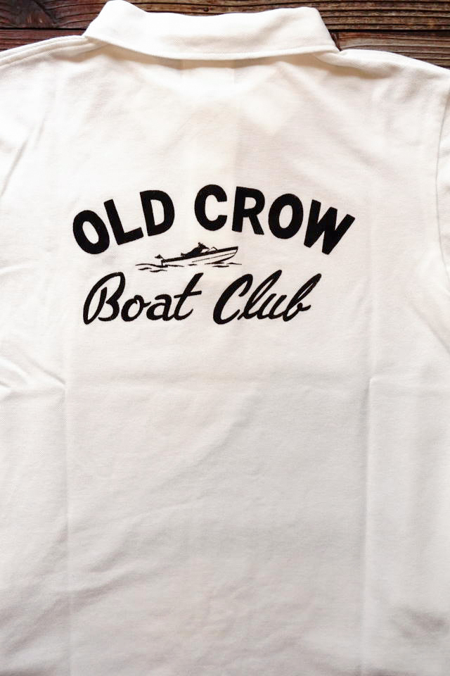 OLD CROW BOUT CLUB - L/S POLO SHIRTS WHITE