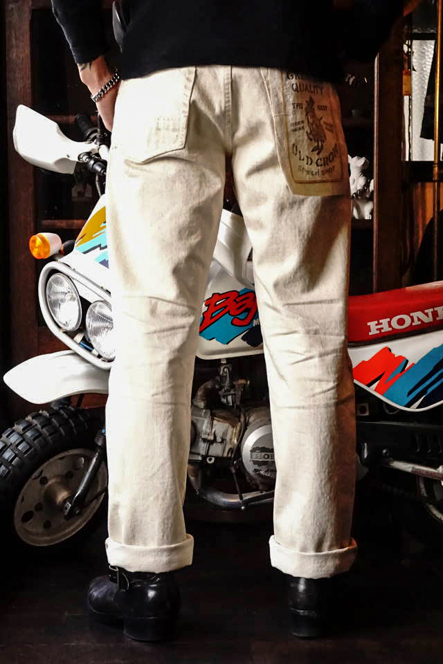 "OLD CROW RODDER - PANTS IVORY  ""VINTAGE FINISH"""