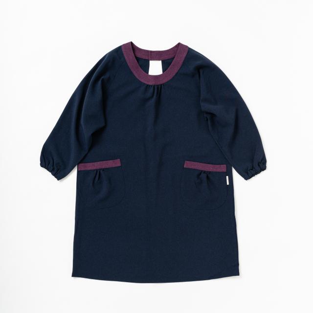 後ろ開きかっぽう着【紺×紫】ポリエステル100%・ノーアイロン・送料無料