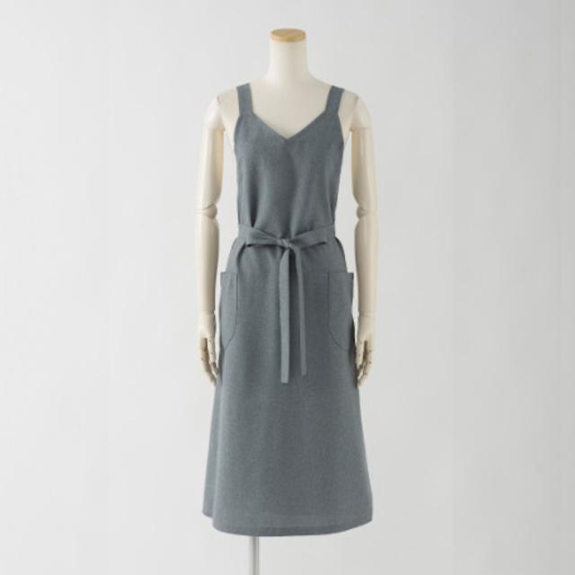 ロングエプロン(バックルなし)【グレー】ポリエステル100%・ノーアイロン・ジャンパースカート型