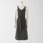 ロングエプロン(バックルなし)【チャコール】ポリエステル100%・ノーアイロン・ジャンパースカート型