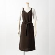 ロングエプロン(バックルなし)【こげ茶】ポリエステル100%・ノーアイロン・ジャンパースカート型