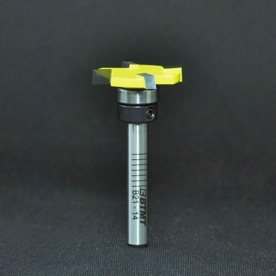 B21-14 刃径25mm薄型 横溝も彫れるミックス4枚刃「大入れ、プレナー」ビット(ベアリングセット付) 6mm軸  《送料無料》