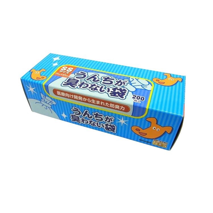 <クロリン化成>驚異の防臭袋 BOS (ボス) うんちが臭わない袋 SSサイズ(200枚入り)