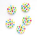 水玉 2 【15mm】×5個セット 白×カラフル(26)