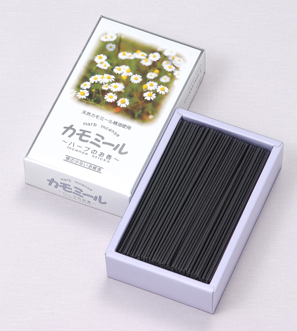 [ハーブのお香]カモミール(大) = 天然精油を練りこんだ、煙が少ないほのかな香りのお線香 送料無料