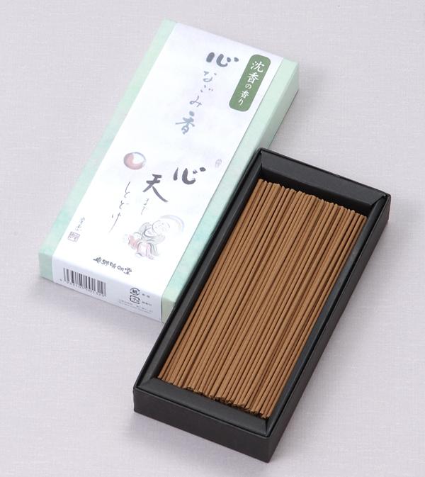 [心なごみ香] 沈香の香り(中) = 沈香のまろやかな香りとかわいらしいイラストが心和ませる、有煙タイプのお線香 送料無料