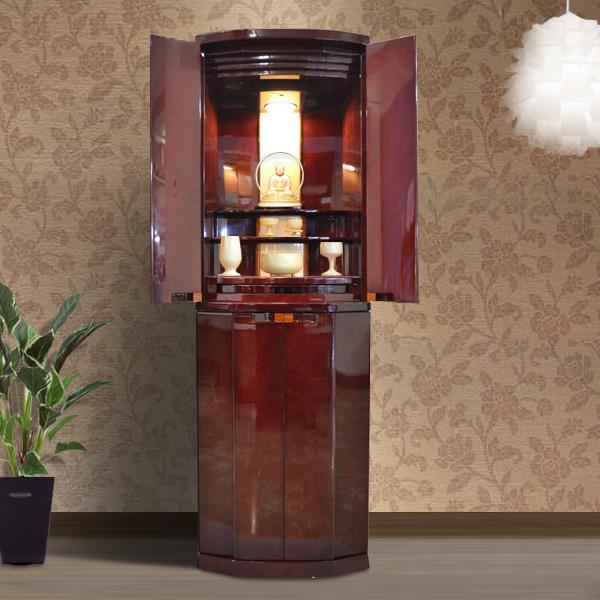 モダン仏壇 [エフタル] 15-45号 シカモア材 = 高級感あふれる深いワインレッドの鏡面塗装がおしゃれな洋風仏壇・国産品