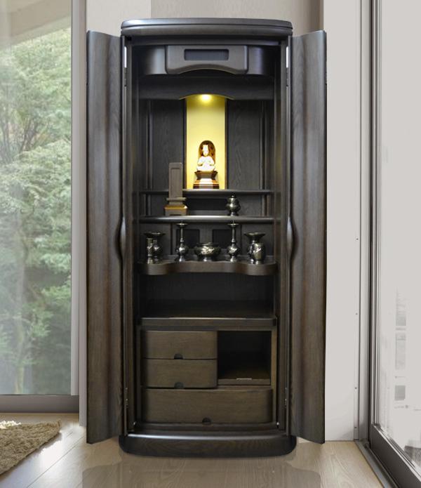 モダン仏壇 [ふるな] 19-52号 タモ材  = タモ無垢材の一枚扉、優雅な曲線基調の存在感あふれるデザインで人気です