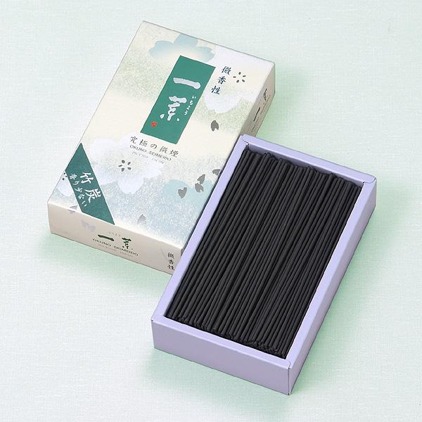[一葉]竹炭(中) = お部屋に香りが付かない超微煙性・ほのかに香る微香性のお線香 送料無料