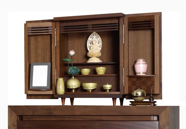 モダン上置仏壇 [夢soメモリアルケース ウォールナット市松 ] = 高級感あふれるウォールナット市松文様のモダンコンパクト仏壇