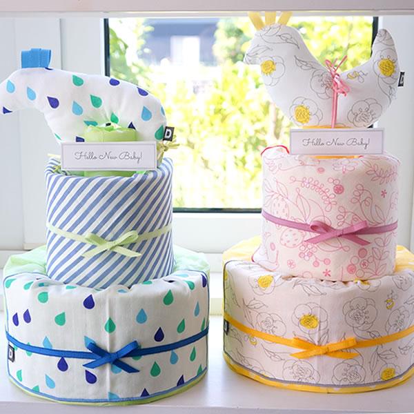 男の子おむつケーキ D BY DADWAYガーゼおむつケーキ