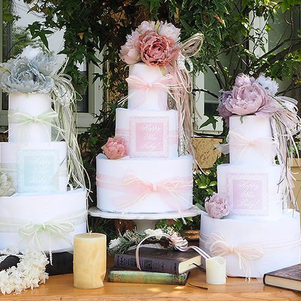 【おむつケーキ】Diaper cake Lacy rose ダイパーケーキ レーシーローズ