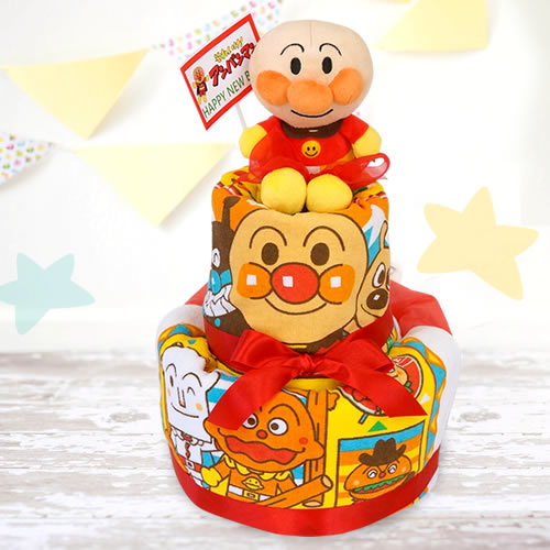 【おむつケーキ】アンパンマンタオルおむつケーキ