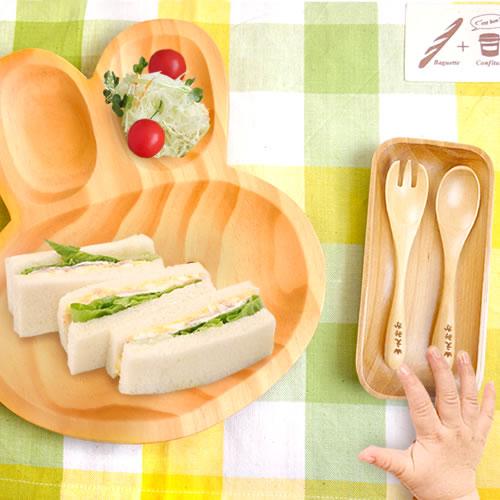 【出産祝い ベビー食器】プチママン名入れスプーン&フォークお食事セット