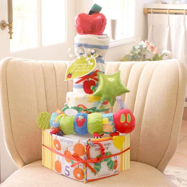 【おむつケーキ】はらぺこあおむしハンギングトイおむつケーキ