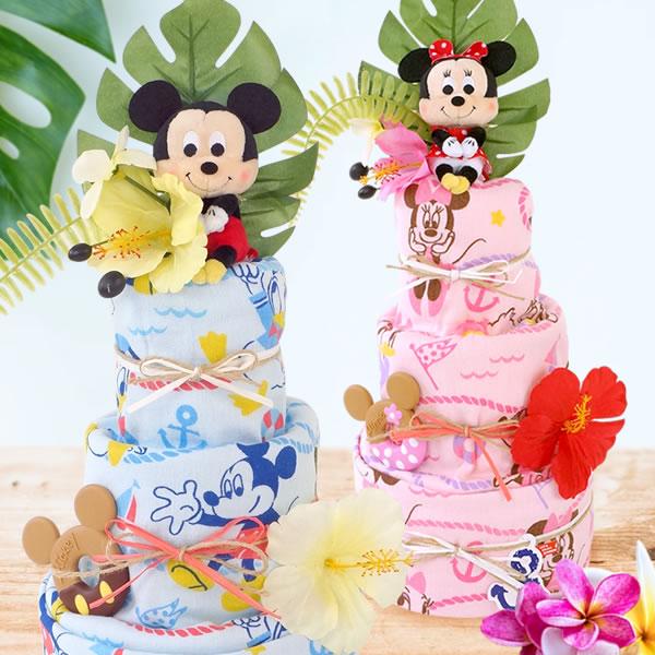 【おむつケーキ】ディズニーサマーバスタオルおむつケーキ