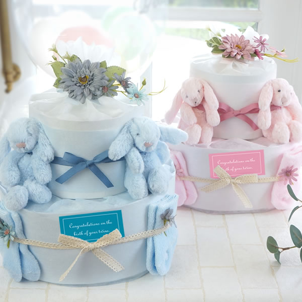 【おむつケーキ 双子】ジェリーキャットツインズ おむつケーキ
