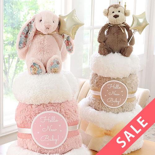 【おむつケーキ】ジェリーキャットブランケットおむつケーキ