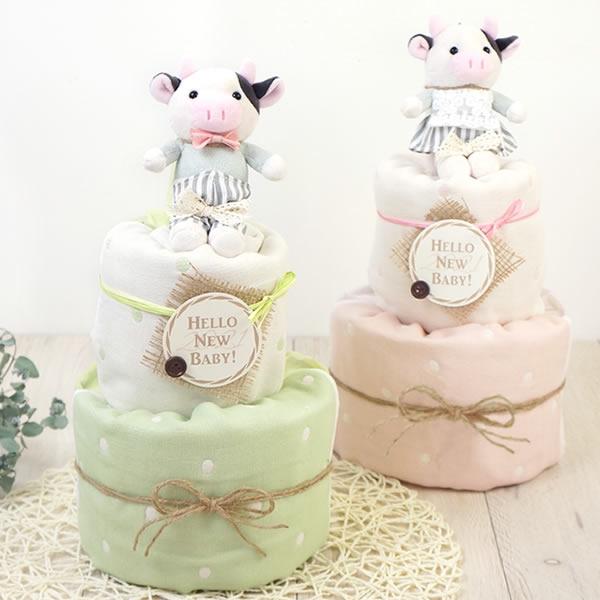 【出産祝い おむつケーキ】Happy Cow Year Diaper Cake