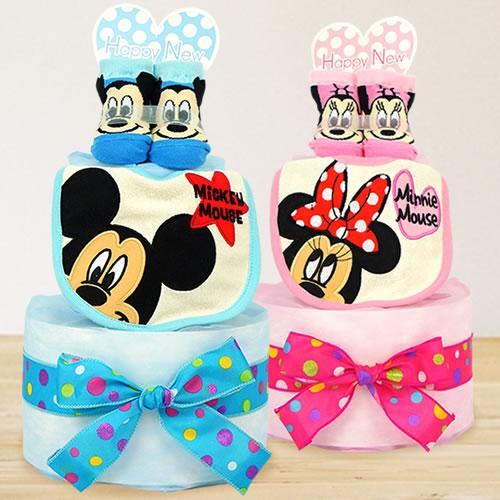 【おむつケーキ】ミッキー&ミニーパイルビブおむつケーキ
