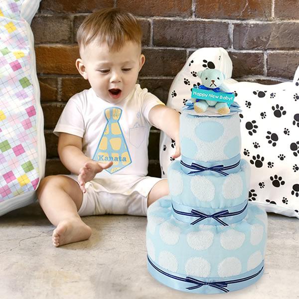 【名入れ 出産祝い】プリティパッチお名前入りロンパースおむつケーキセット