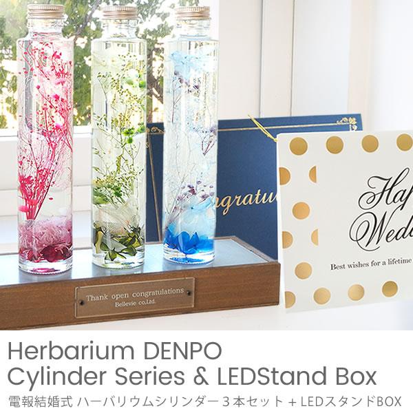 【電報 結婚式】ハーバリウムシリンダー3本セット + LEDスタンドBOX(専用ボックス付)