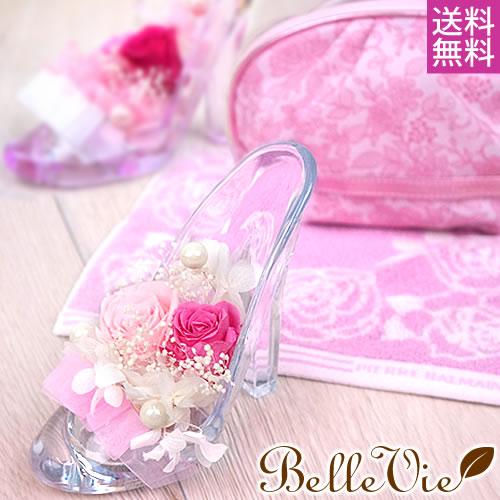 プリザーブドフラワー かわいいガラスの靴+ポーチ&ハンカチセット