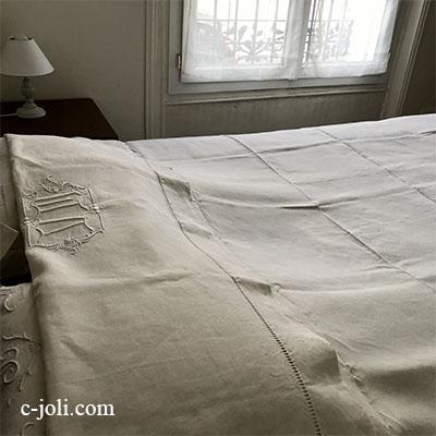 【パリ発送】B1558 フランスアンティークリネンシーツ/ベッドシーツ 手刺繍モノグラムリネンクロス 223x299cm