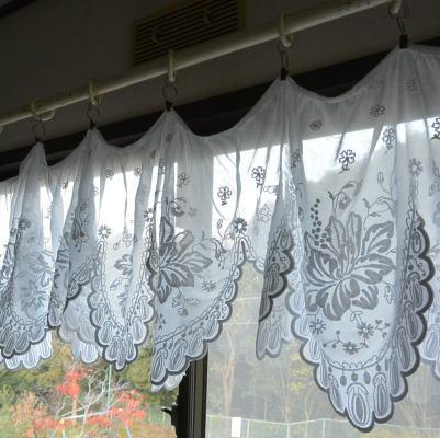 C-849 フランスアンティークカーテン/バランスカーテン 19世紀コーネリー刺繍綿ローンカーテンバランス 2m09