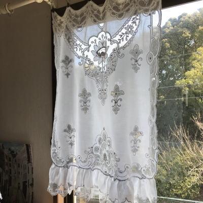 C-998 フランスアンティークレースカーテン タンブール刺繍/タンバー刺繍コットン&ネットレースカーテン 80cm